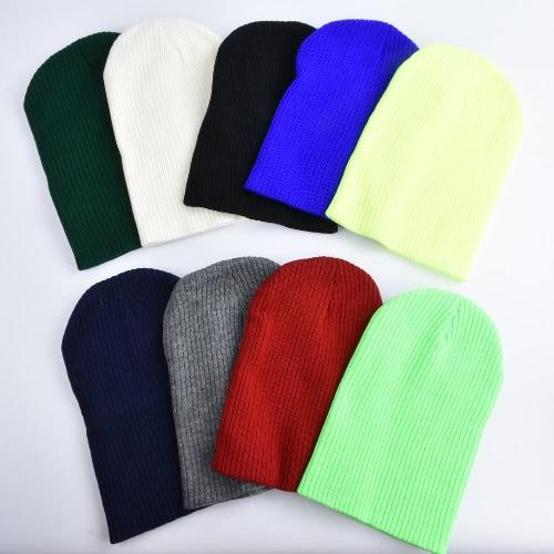 Мужские женщины Мужчины Трикотажные эластичные шапочка Твердый цвет Ребристый slouchy Повседневный Открытый Спорт Теплый Зимний Kullies Hat фото