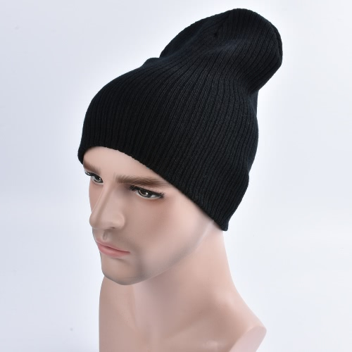 Unisex Women Men Knitted Elastic Beanie Cor sólida com nervuras Slouchy Casual Outdoor Sport Warm Winter Kullies Hat