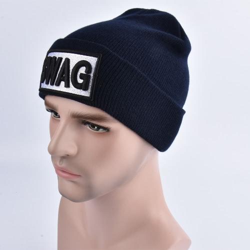 Unisex Hombres Mujeres Gorros Sombrero hecho punto SWAG Letra Skullies Baggy Hip Pop Bonnet Caps