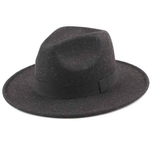 Hombres Hombres Unisex Felt Trilby Sombreros Bordo Ancho Fedora Jazz Hat Gorras