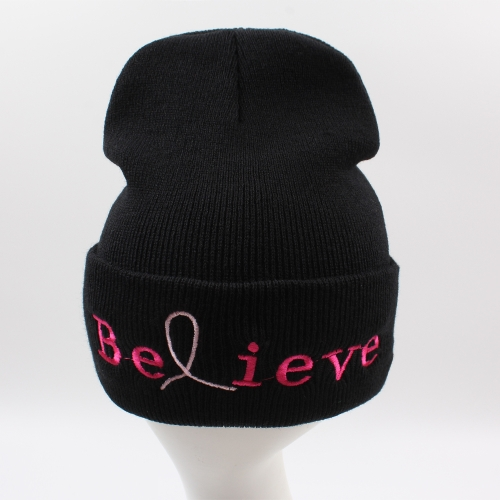 Unisex Men Women Beanies Knitted Hat Believe Letter Skullies Baggy Hip Pop Winter Bonnet Caps Black