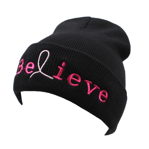 Unisex Herren Damen Beanies Strickmütze glauben Brief Skullies Baggy Hip Pop Winter Bonnet Caps schwarz