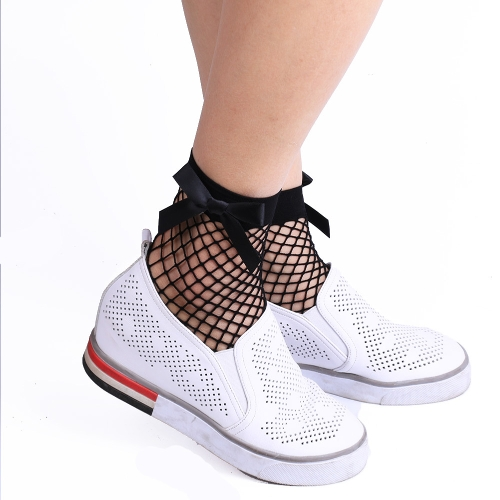 Sexy Women Harajuku Bow Knot Fishnet Socks Breathable Mesh Hollow Out Net Ankle Socks Sokken Black