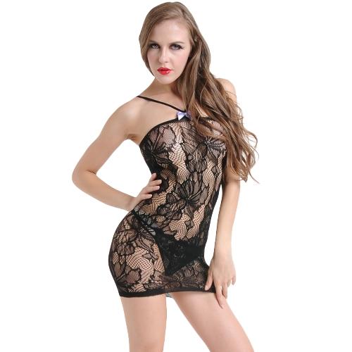 Mulheres Sexy Lingerie Babydoll Chemise Vestido de Renda Oco Out Erotic Underwear Nightwear Sleepwear Preto