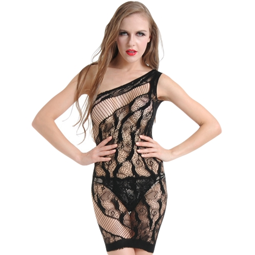 Sexy Kobiety Hollow Out Bielizna Sleep Dress Sheer Mesh Lace Babydoll Dress Nightwear Bielizna nocna Czarny