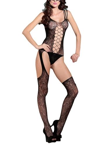 Seksowne kobiety Bielizna Bodystockings Body Drążą otwarte krocza Koronkowe erotyczne krocza Bielizna nocna Bielizna nocna Czarny