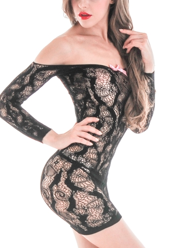 Sexy Women Lace Lingerie Bodycon Mini Dress Sheer Mesh Off Shoulder Hollow Out Stretch Erotic Chemise Underwear