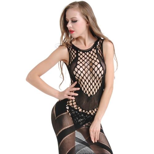 New Sexy Mulheres Lingerie Fishnet Underwear Babydoll Mini Vestido Meias Corpo Sleepwear Nightwear Preto