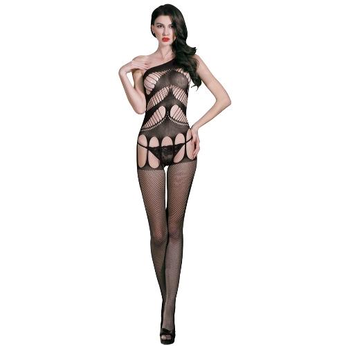 Sexy Frauen Fischnetz Dessous Bodystocking Sheer Mesh ausgeschnitten Crotchless Strappy Erotic Bodysuit Nachtwäsche Unterwäsche Schwarz