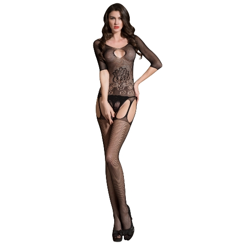 Sexy Femmes Résille Lingerie Bodystocking Sheer Mesh Cut Out Crotchless Erotique Bodysuit vêtements de nuit sous-vêtements noir