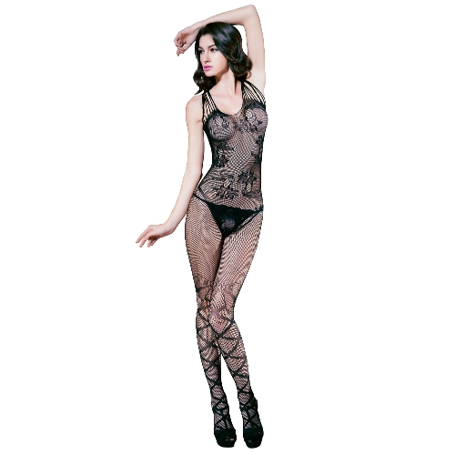 Sexy Women Fishnet Lingerie Bodystocking Sheer Mesh Cut Out Crotchless Erotic Bodysuit Sleepwear Underwear Black