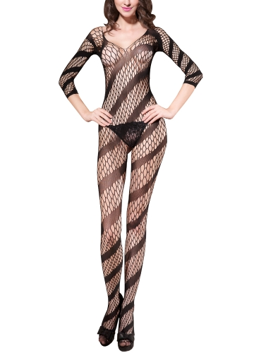 Sexy Women Crotchless Bodystockings Bielizna Erotic Body Stretch Nightwear Bielizna nocna Czarna