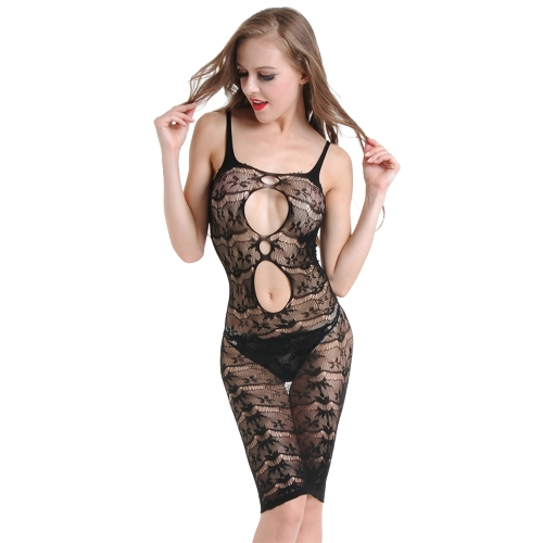 0036a5f086 Women Erotic Lingerie Babydoll Sheer Mesh Floral Lace Spaghetti Strap  Backless Sexy Sleepwear Black