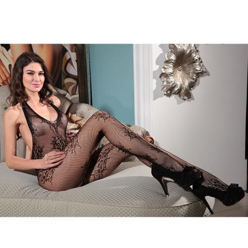 Exotic Women Body Stocking Sheer Transparent Mesh Floral Lace Halter Skok w dół V Backless Open Crotch Sexy kabaretki