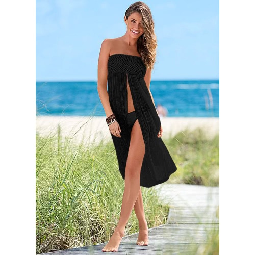 Sexy Women Cover Up Crochet Aqueça Meshy Beachwear Boho Bikini Dress Skirt Summer Beach Bege / Black