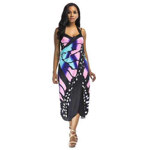 Damska sukienka z wysokim rozcięciem w kwiatowy wzór Halter Backless Hollow Out Party Club Długa sukienka w kolorze czarnym / różowym