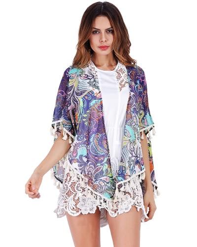 Mulheres Chiffon Tassels Kimono Cardigan Boho Impressão Étnica Fringed Loose
