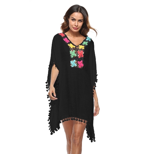 Mulheres Swimsuit Cover Up Lace Crochet Oco Out Boho Loose Praia Bikini Cover-up