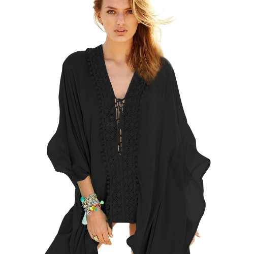 New Sexy Women Beach Cover Up Vestido Tassel Tie Crochet Applique V Neck Loose Kaftan One Piece Branco / Azul claro / Preto