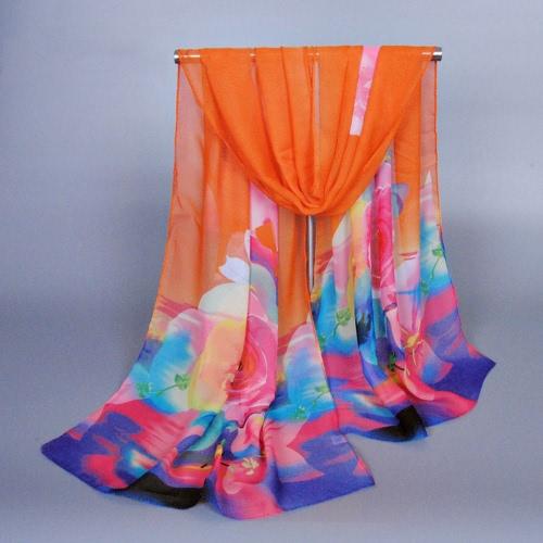 Anself Fashion Contrast Kolorowe Kwiaty Wydrukować Cienkie Szaliki Pashmina Chiffon Szalik