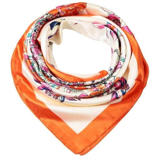 Mode Frauen-Schal-Blumendruck-Quadrat-Entwurf Wraparound Thin Schal Satin Kerchief Rot / Orange / Dunkelblau