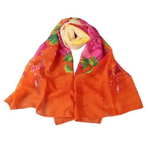Image of Neue Art und Weise Frauen-Chiffon- Schal Bunte Blumenmuster-Druck-Gradient Lange Schal Pashmina eleganter Thin Schal