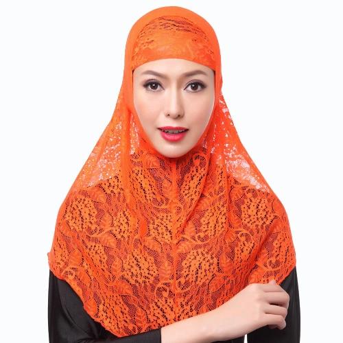 La nueva manera de la cubierta completa Hijab musulmán de dos piezas de encaje sólido turbante islámico Cap Gorros