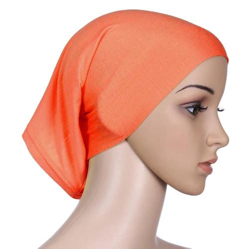 Nowy Moda muzułmańska Hijab Turban Islamska Bonnet Podwójna czapka Wewnętrzna czapka Solid Color Tube Hat Elastyczna czapka