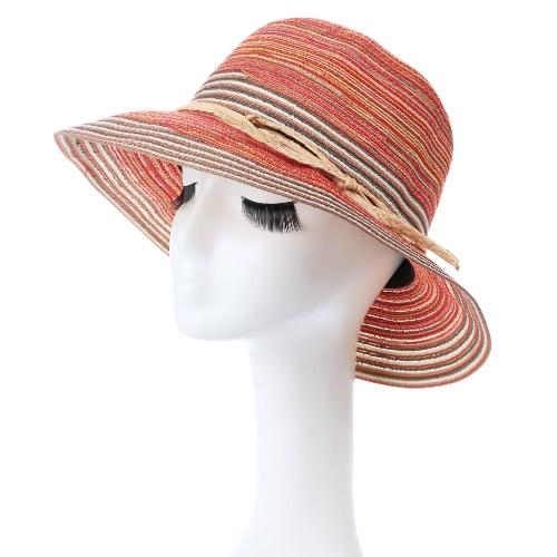 Forme a mujeres del sombrero de Sun del contraste de la raya del borde ancho de la correa del verano Sunbonnet Playa Sombrero de Panamá anaranjado / azul