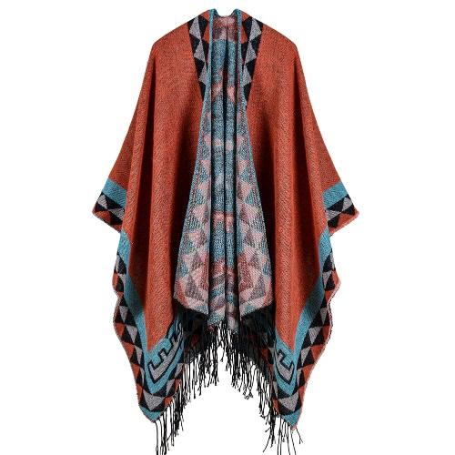 Boho Mulheres Malha Shawl Poncho Faux Cashmere Padrão Geométrico Tassel Oversized Warm Long Cape