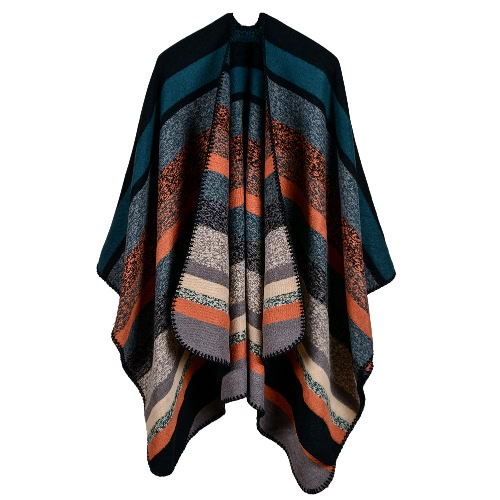 Frauen Poncho Schal Strickjacke Strickjacke Striped Warm Kap Schal Lange Schals Pashmina Outwear