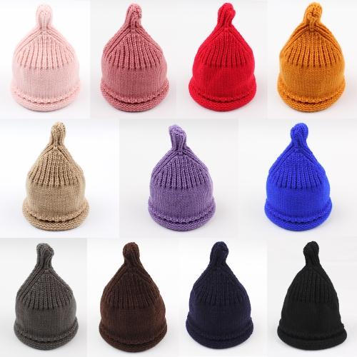 Симпатичные девочки мальчика Девушки вязаные шапочки шапочки Теплые ребристые детские шапки черепа Осенние зимние головные уборы
