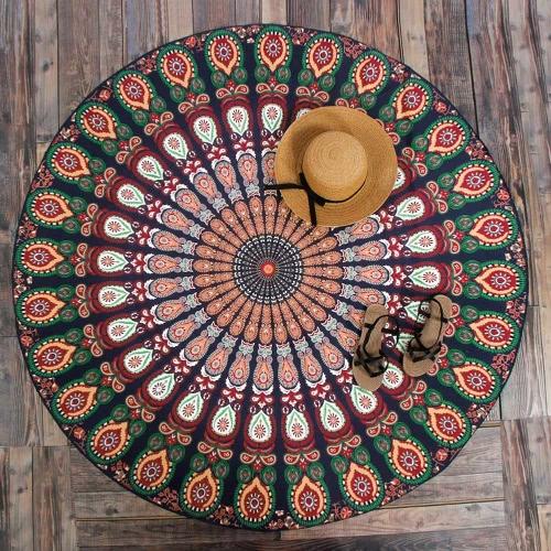 Mujeres Ronda de la toalla de playa Mat impreso bohemio de la tapicería del tiro de la yoga de picnic manta traje de baño