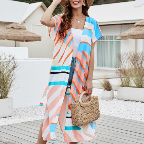 Casaco feminino longo de verão solto com alça na frente da cintura aberta Robe Boho para férias e coberturas de praia