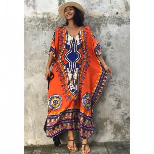 Étnica Mulheres Cover Up Plus Size Impresso V Neck Maxi Boho Hipppie Dashiki Bikini Beach Dress Kaftan
