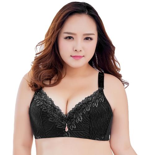 Mulheres Sexy Plus Size 3/4 Copo Lace Push Up Sutiã Fino Luz Acolchoada Underwire Sutiã Cueca Grande Copo