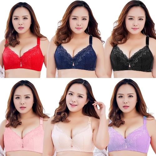 Mujeres atractivas más el tamaño 3/4 taza de encaje Push Up Bra delgada luz acolchada Underwire Brassiere Underwear Large Cup