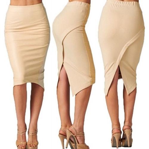 New Fashion Women Midi Skirt Asymmetrical Hem Split Back Elastic Waist Solid Elegant Skirt Light Apricot