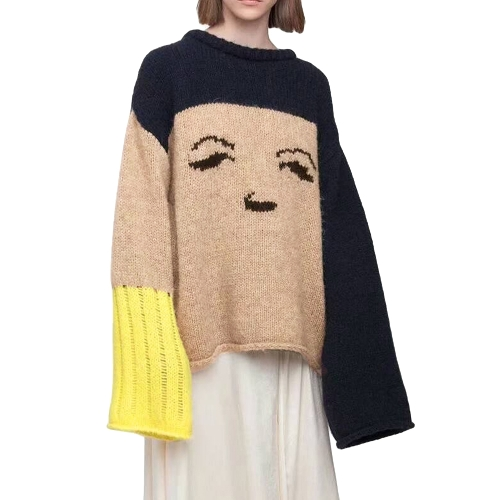 Outono Inverno Mulheres Loose Sweater Sorriso Emoji O-Neck Contraste Sweater de malha Pullover Jumper Tops Bege