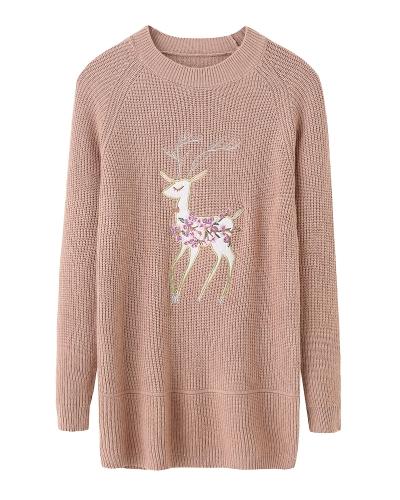 Suéter hecho punto de las mujeres de la Navidad jersey Suéter hecho punto reno bordado de la manga larga del raglán