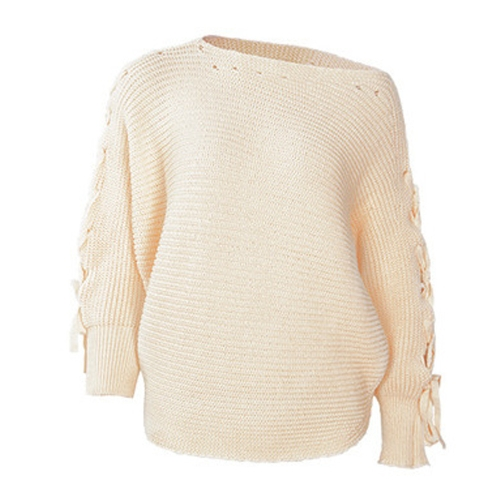 Mulheres Lace Up Sweater de malha Manga comprida Bola de barco Loose Jumper Camisola de fundo Top Marrom / Bege