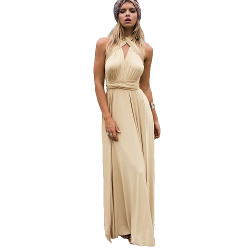 Women Dress Solid Stretchy Convertible Multi Way Cross Strap Bridesmaid Long Gown Maxi Party One-Piece Pink