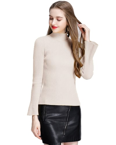 Mode Winter Frauen Ribbed Flare Ärmel stehen Kragen Damen Pullover