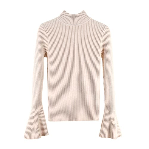 New Fashion Winter Women Ribbed Knit Sweater Flare Sleeves Stand Collar Knitted Pullover Knitwear