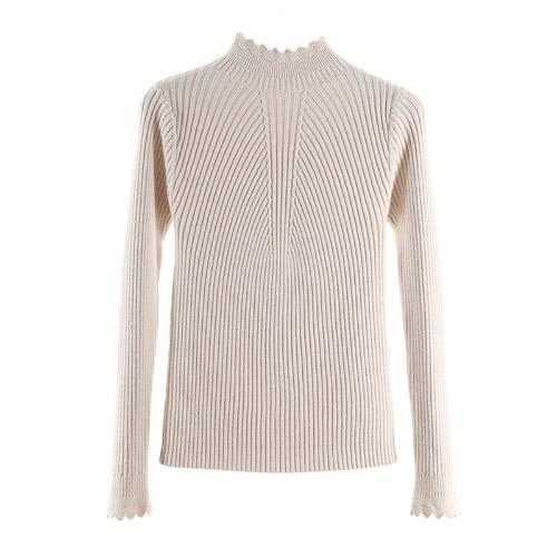 Manga larga de cuello alto de las mujeres de la manera rizada que hace punto suéter Sólido básico del suéter adelgazan los pantalones vaqueros aptos del puente de los géneros de punto