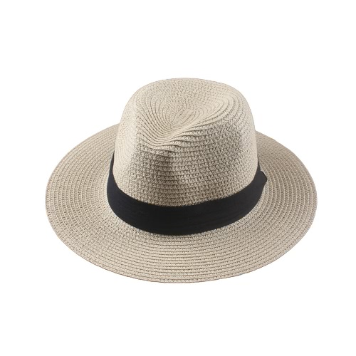 Las mujeres de moda de verano Floppy paja sombrero borde ancho plegable sol playa vacaciones gorra Casual blanco y beige
