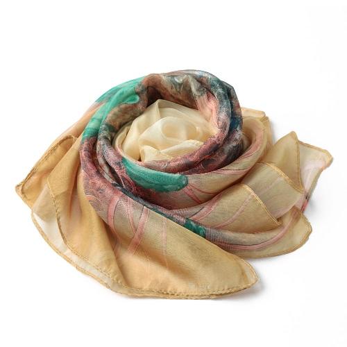 Nowe mody Kobiety Szalik Floral Print dwóch poziomach Frezowanie długich cienkich Elegancki Pashmina Plaża zatuszować Bluzka