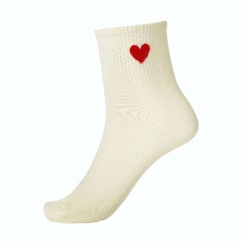 Donne bello Calze solido a forma di cuore Stampa traspirante elastico casuale di sport calze lunghe