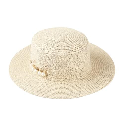 Kobiety Moda Sun Hat Straw Hat stałe szerokie rondo Bead Lato Sunbonnet Plaża Panama Hat