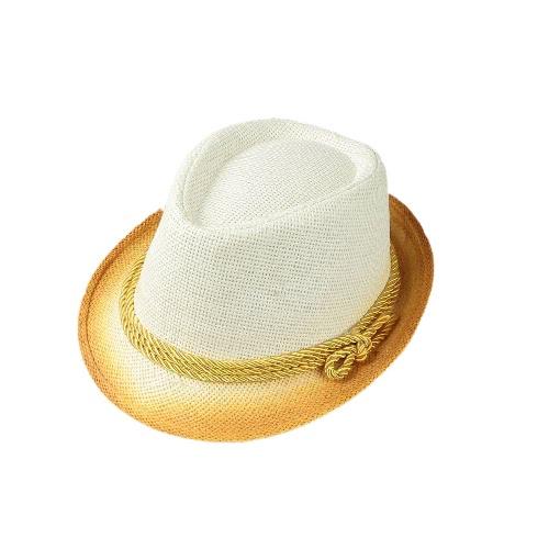 Moda Mulheres Chapéu de Sol Contraste Cor palha Narrow Brim Belt Verão Sunbonnet Praia do Panamá Fedora Hat Branco / Bege